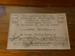 ➡➡1942 Ww2 Currency Philippines Emergency 50 Centavos Culion Leper Colony 9379