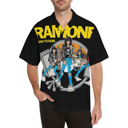 Ramones Button Down Tee Shirt Funky Design Retro Menand039s Mod Punk 70s Boho Jerseys