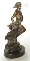 Abstract Modern Art Mid Century Nude Man In Air Real Bronze Sculpture Figure