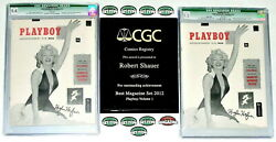 2 HIGHEST CGC GRADED HUGH HEFNER SIGNED ORIGINAL #1 PLAYBOYS WITH WHITE PAGES!