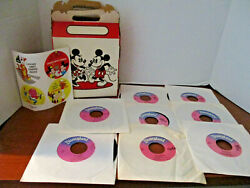 Vintage My First Walt Disney Record Collection In Original Box8 45 Rpm Records