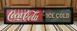 Coca Cola Sign Glass Wood Coke Vintage Style Button Theater Bottle Bar Ice Cold