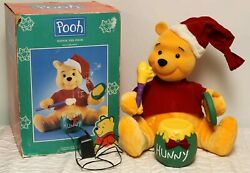 '96 Telco Motion-ette Animated Light Up Winnie The Pooh Honey Pot Flocked Moving