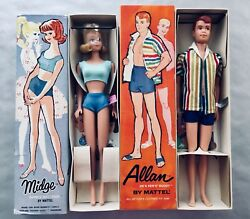Vintage Barbieand039s Friend Midge And Allan 1963 W/wrist Tags Nrfb Made In Japan