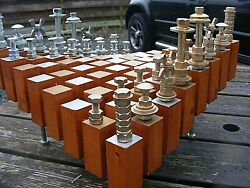 RETRO MACGYVER STYLE CHESS SET AND BOARD HAND MADE