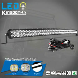 50inch Curved 700w Led Light Bar Flood Spot Combo Roof Driving Rzr Suv 4wd 52''
