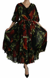 Dolce And Gabbana Dress Silk Black Floral Roses Pleated Maxi It40/ Us6/s Rrp 4000