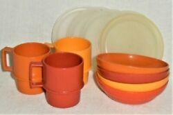 Lot/12 Vtg. Tupperware Children's Toy Dishes Bowls And Cups / Mugs Harvest Colors