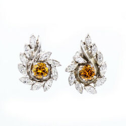 14k White Gold 2.50ctw White And Brown Diamond Post Earrings