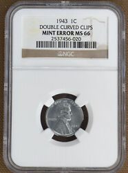 1943 Steel Lincoln Cent Double Curved Clips Mint Error Ngc Ms66