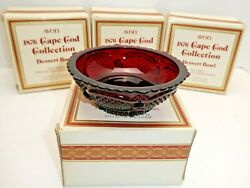 Set Of 4 Avon Ruby Red Cape Cod Fruit Dessert Bowls Dishes Footed Mib