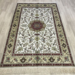 Yilong 4and039x6and039 Flowers Pattern Silk Hand Knotted Carpets Antique Handmade Rug 152b