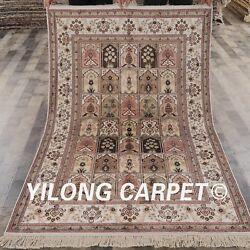 Yilong 4'x6' Pink Hand Knotted Oriental Classic Area Rug Four Season Carpet 201b