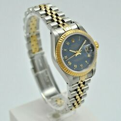 Rolex Datejust Lady 69173 Year 1987. Case 26 Mm. 18k Gold And Steel Blue Dial