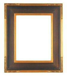 24 X 36 Std Picture Frame Carved Corners Bronze Gold Finish W/ Glazing / Backing