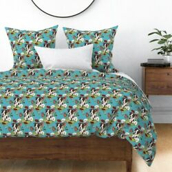 Boston Terrier Puppies Illustration Pet Floral Sateen Duvet Cover by Roostery