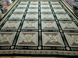 9and039 X 12and039 Hand Made English Aubusson Savonnerie Design Needlepoint Wool Rug Nice