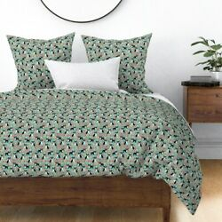Boston Terrier Dog Florals Flower Mint Puppy Sateen Duvet Cover by Roostery