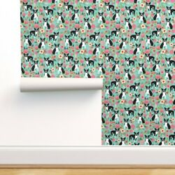 Wallpaper Roll Boston Terrier Vintage Style Florals Dogs Mint 24in x 27ft