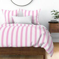 Pink White Stripe Mary Returns Mary Music Hall Sateen Duvet Cover by Roostery