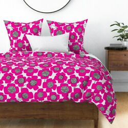 Hot Pink Pink Fuchsia Dorm Room Girly Mod Florals Sateen Duvet Cover by Roostery