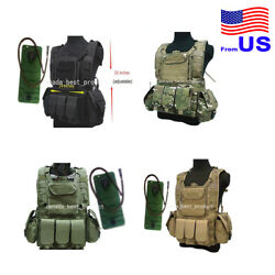 Tactical Airsoft Hunting Miltary Molle Vest With Hydration Water Reservoir Usa