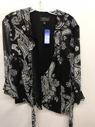 Dressbarn Open Tie Front Blouse Top Size 16 XLarge Black gray Floral  Long Slv