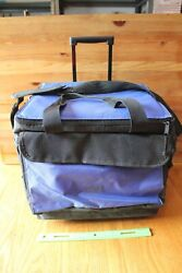 Ibm Cooler On Wheels Insulated Picnic Beach Bag Lunch Drinks Blue Black Vintage
