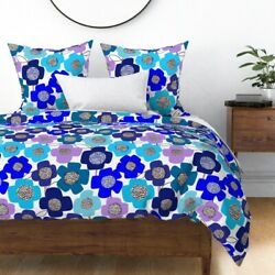 Graphic Flowers Blue Tones Blues Dorm Room Home Sateen Duvet Cover by Roostery
