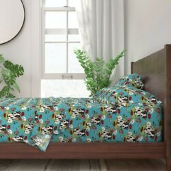 Boston Terrier Puppies Illustration Pet 100% Cotton Sateen Sheet Set by Roostery