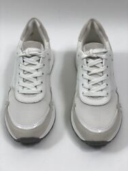 Michael Kors Womens Monroe Trainers Shoes Optic White Low Top Canvas 6.5 M New $60.67