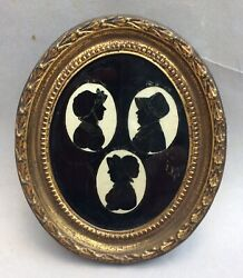 Antique Reverse Painted Silhouette 1811 Brunewald Three In One Portrait