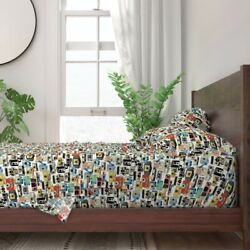 Vintage Cameras Nerd Photography Retro 100% Cotton Sateen Sheet Set by Roostery