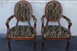 Elegant Pair Of French Bergere Mahogany Spring Arm Chairs, New Upholstery