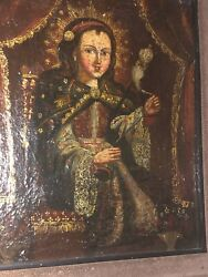 Mexican Retablo Exquisite Madonna Oil Painting On Tin Metal Early 18th-19thc