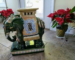 Vintage Asian Ceramic Elephant Stand - Green Multi-color