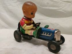 Vintage Rare Japanese Tin Number 7 Race Car With Boy. Presents Well. Unique. Wow