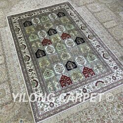 Yilong 4and039x6and039 Four Seasons Handwoven Silk Carpet Pet Friendly Floral Rug H309b