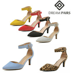 DREAM PAIRS Women's Ankle Strap Pump Shoes Low Heel Pointed Toe Pump Dress Shoes $24.17