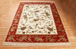 8x10 Hand Knotted Large Carpet Indian Handmade Floral Wool Silk New Area Rug
