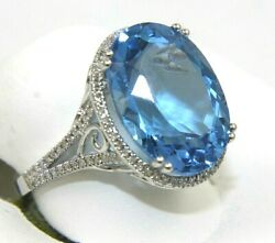 Natural Oval Blue Topaz Diamond Halo Solitaire Ring 14k White Gold 12.86ct