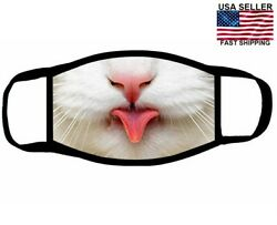 Cute White Kitty Cat tongue Out Face Mask Cover NEW Reusable Washable US SELLER