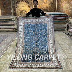 Yilong 4.5and039x6.5and039 Blue All-over Handmade Silk Carpet Pet Friendly Area Rug H316b