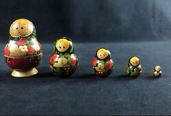 Vintage Russian Matryoshka Wooden Nesting Stacking Dolls Red Black Gold Paint So