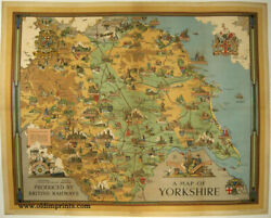 ENGLAND YORKSHIRE  A Map of Yorkshire VINTAGE POSTER 1949