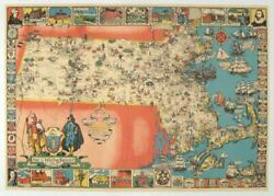 Map Of Massachusetts The Old Bay State A Picture History Map / 1930