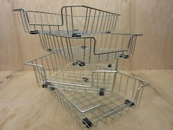 Lot Of 4 Vintage Industrial Metal Wire In-out Letter Size Desk Tray Baskets //