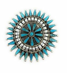 Vintage Navajo Sterling Silver Petit Point Cluster Turquoise Brooch/pendant