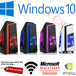 Fast Intel Quad Core Gaming Pc Tower Wifi And 8gb 1tb Hdd And Win 10 + 4gb Graphics