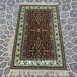 Yilong 2.5and039x4and039 Red Handwoven Silk Carpet Antique Interior Area Rug Yxr320b